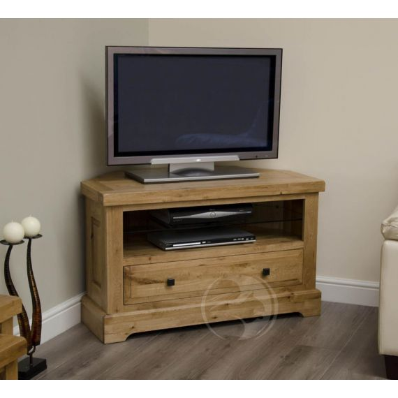 Coniston Rustic Solid Oak Corner TV Unit