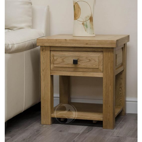 Coniston Rustic Solid Oak Lamp Table with Drawer