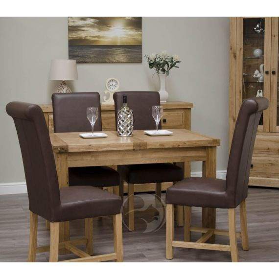 Coniston Rustic Solid Oak Small Extending Dining Table