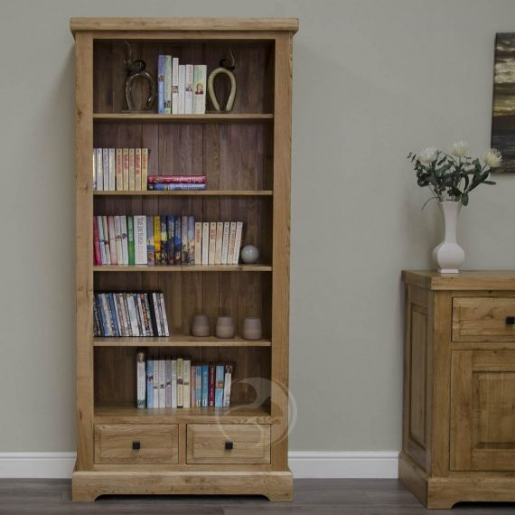 Coniston Rustic Solid Oak Tall Bookcase
