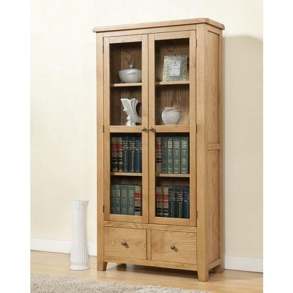 Cotswold Rustic Light Oak Display Cabinet