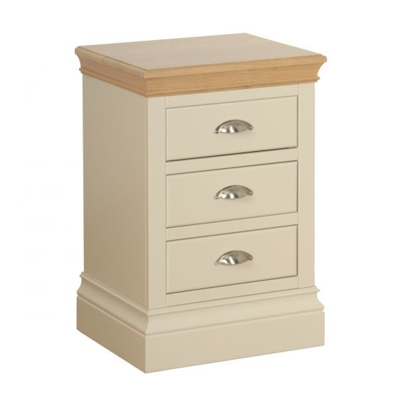 Country Oak and Painted Compact 3 Drawer Bedside Chest