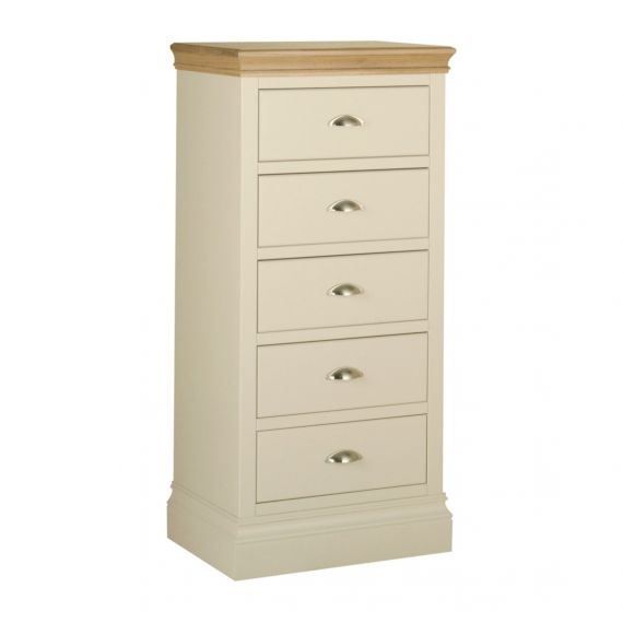 Country Oak and Painted 5 Drawer Tallboy