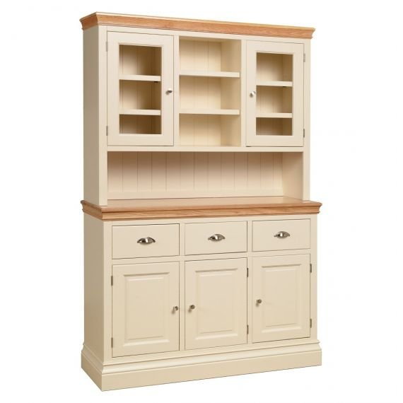 Country Oak and Painted Large Glazed Top Welsh Dresser