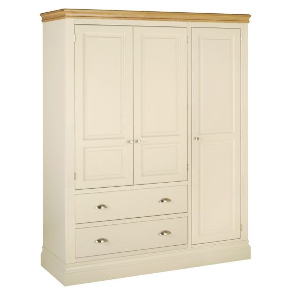 Country Oak and Painted Triple Wardrobe with 2 Drawers