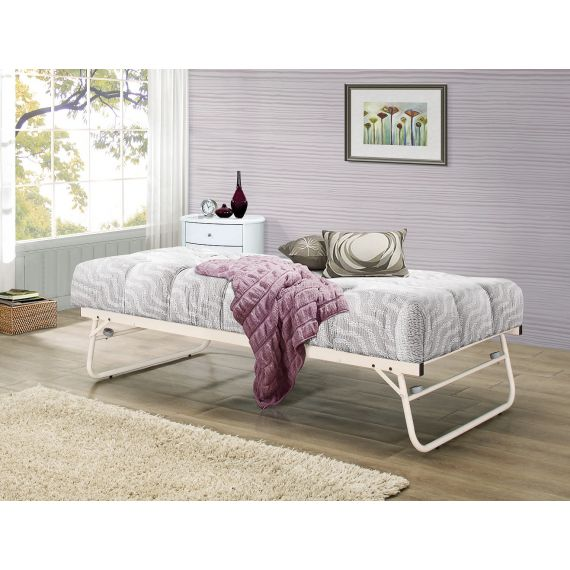 Cream Metal Trundle Bed