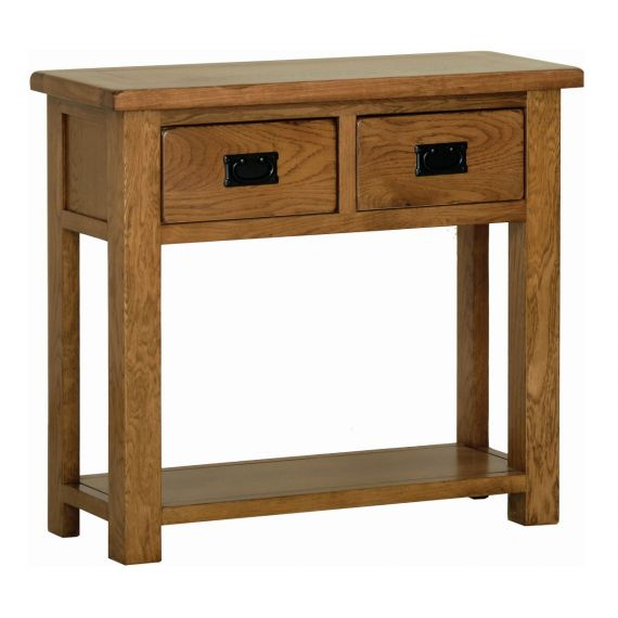 Edinburgh Rustic Oak 2 Drawer Console Table