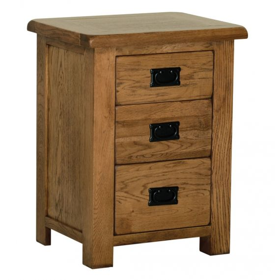 Edinburgh Rustic Oak 3 Drawer High Bedside Chest