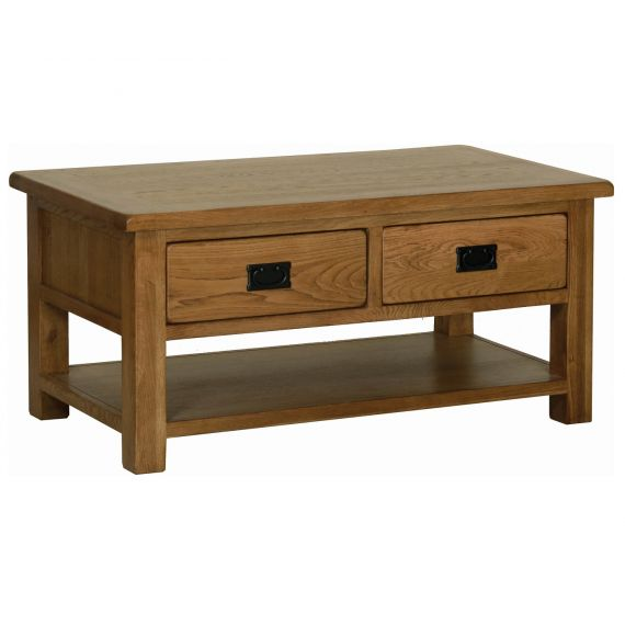 Edinburgh Rustic Oak Coffee Table with Drawers