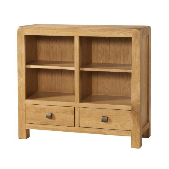 Fairfield Oak Low Bookcase with 2 Drawers