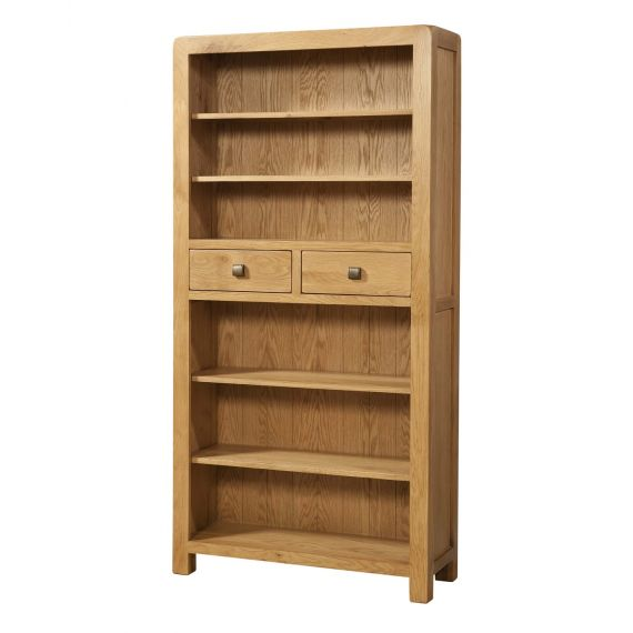 Fairfield Oak Tall Bookcase with 2 Drawers