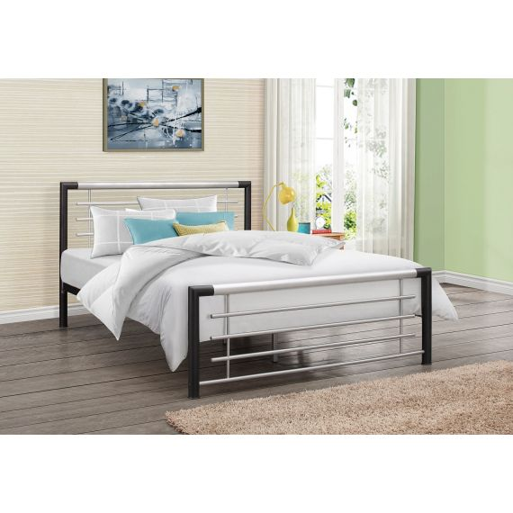 Faro Black and Silver Metal Bed