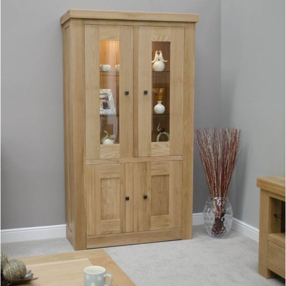 French Bordeaux Oak 2 Door Glass Display Unit