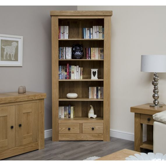 French Bordeaux Oak Large Bookcase with Drawers