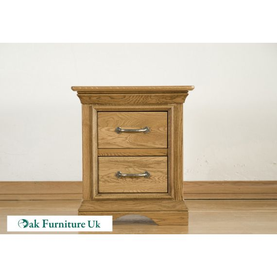 French Style Solid American White Oak 2 Drawer Bedside Chest