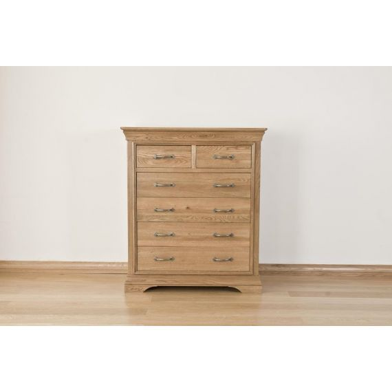 French Style Solid American White Oak 6 Drawer Chest