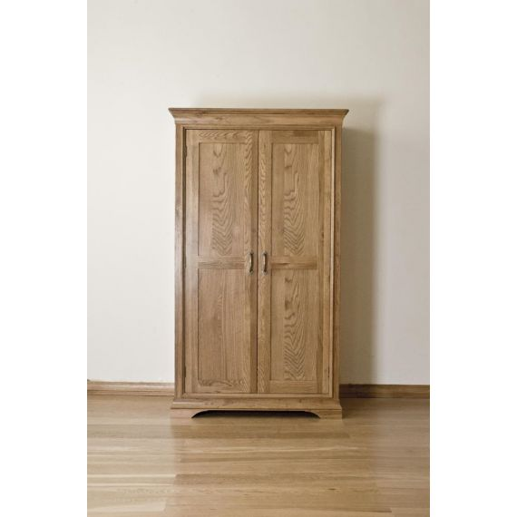 French Style Solid American White Oak Double Wardrobe