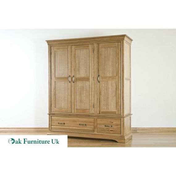 French Style Solid American White Oak Triple Wardrobe