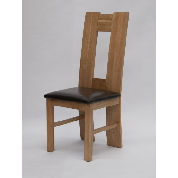 H-Back Solid Oak Dining Chair with Brown Seat Pad