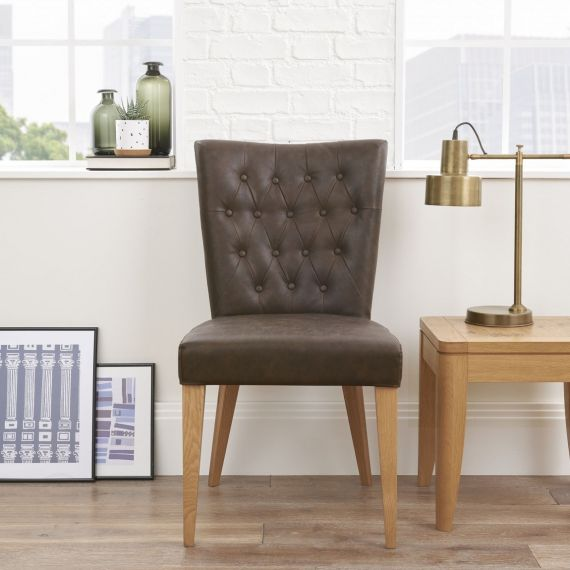 High Park Brown Distressed Leather Dining Chair - High Park Furniture