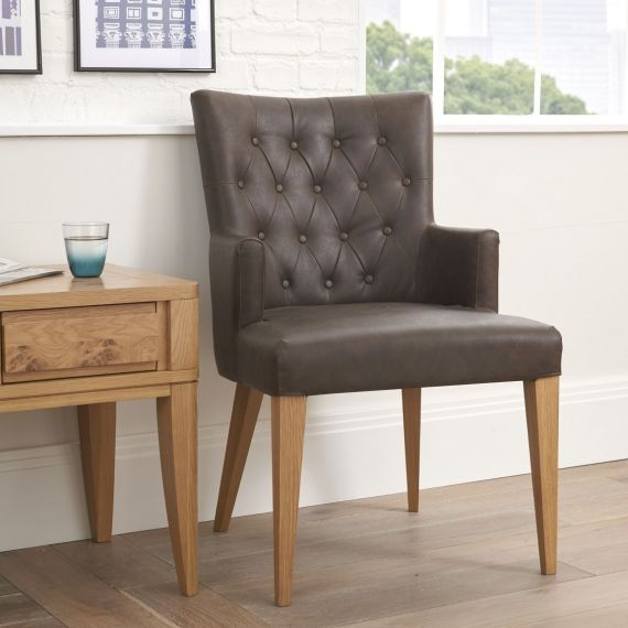 High Park Brown Distressed Leather Dining Chair with Arms - High Park Furniture