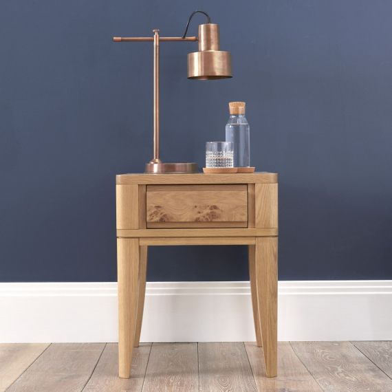 High Park Pippy Oak Lamp Table with Drawer - High Park Furniture