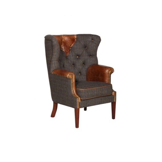 Kensington Vintage Armchair Harris Tweed Fast Track