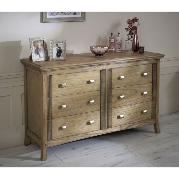 Lincoln Ash 6 Drawer Wide Chest