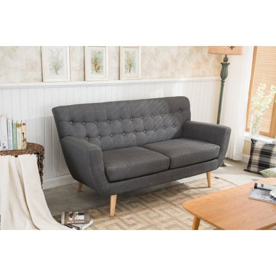 Loft Grey Fabric 2 Seater Sofa