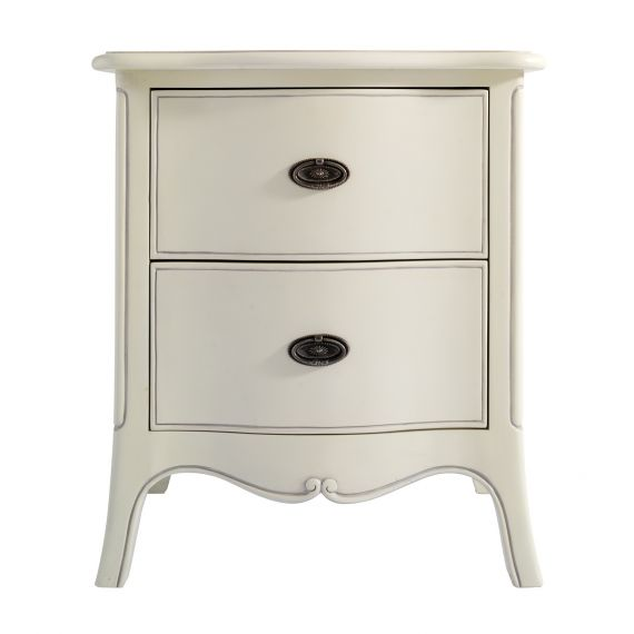 Louis French Ivory Painted 2 Drawer Bedside Table