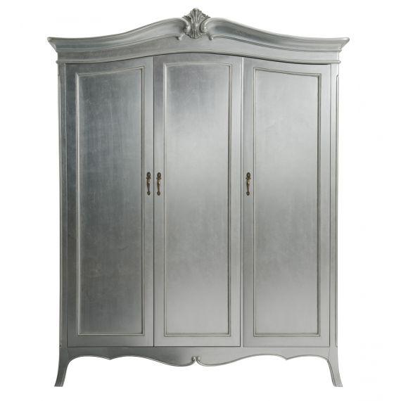 Louis French Silver Leaf 3 Door Triple Wardrobe