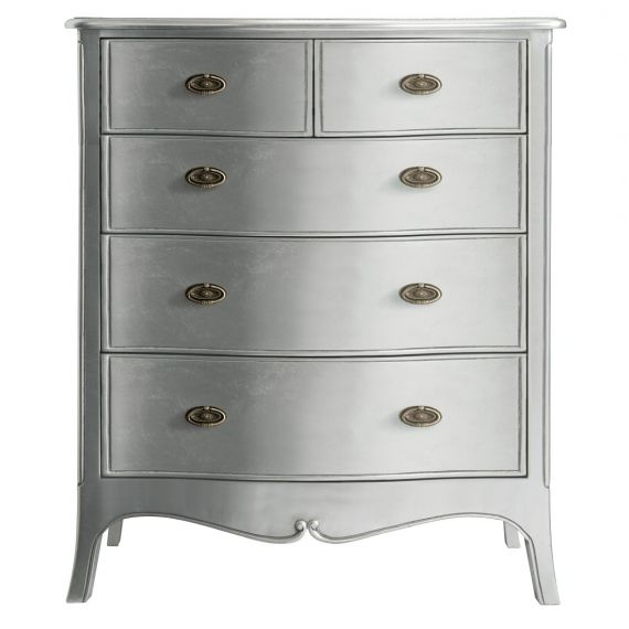 Louis French Silver Leaf 5 Drawer Chest