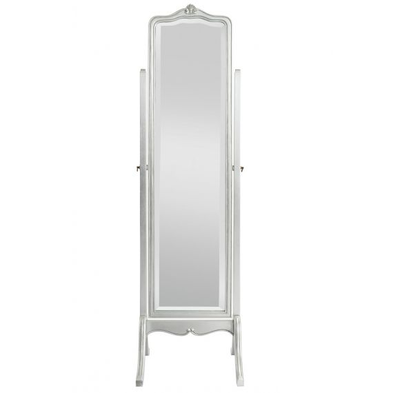 Louis French Silver Leaf Cheval Mirror