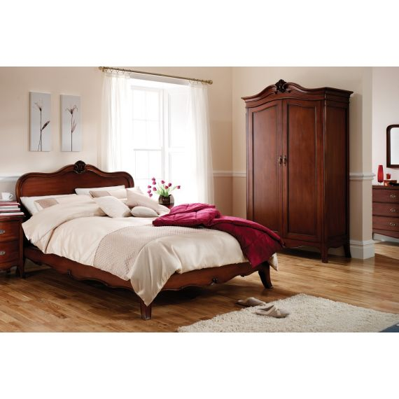 "Louis French Mahogany 4' 6"" Double Bed"