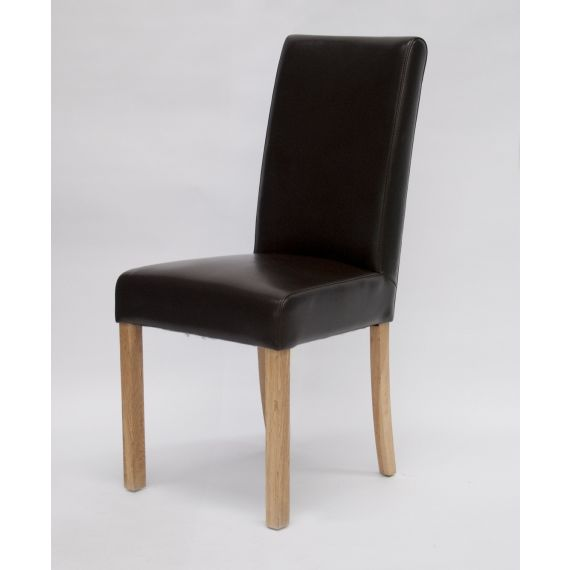 Marianna Brown Leather Dining Chair with Solid Oak Legs