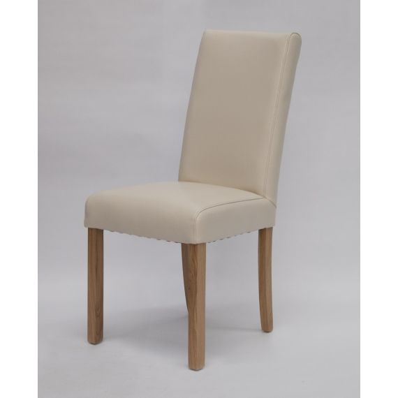 Marianna Cream Leather Dining Chair with Solid Oak Legs