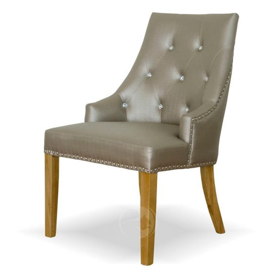 Marjukka Stone Fabric Chair with Crystal Buttons