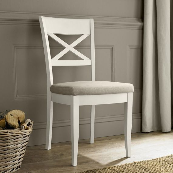 Montreux Antique White Painted Cross Back Dining Chair - Sand Fabric - Montreux Furniture