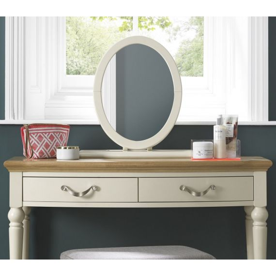 Montreux Antique White Painted Oval Dressing Table Mirror - Montreux Furniture