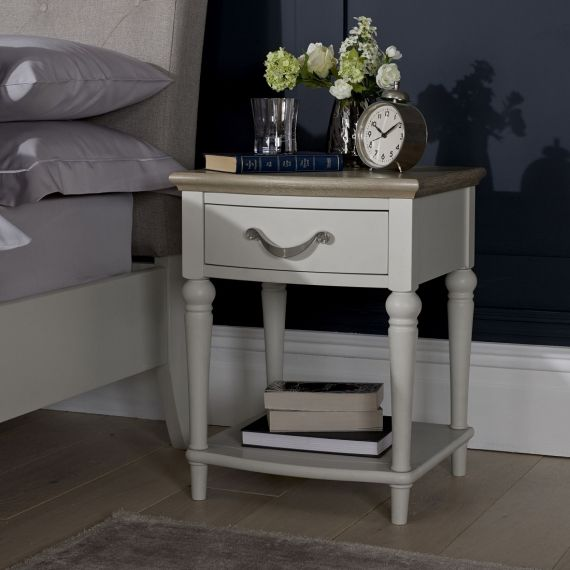 Montreux Grey Washed Oak & Soft Grey Painted 1 Drawer Bedside Table - Montreux Furniture
