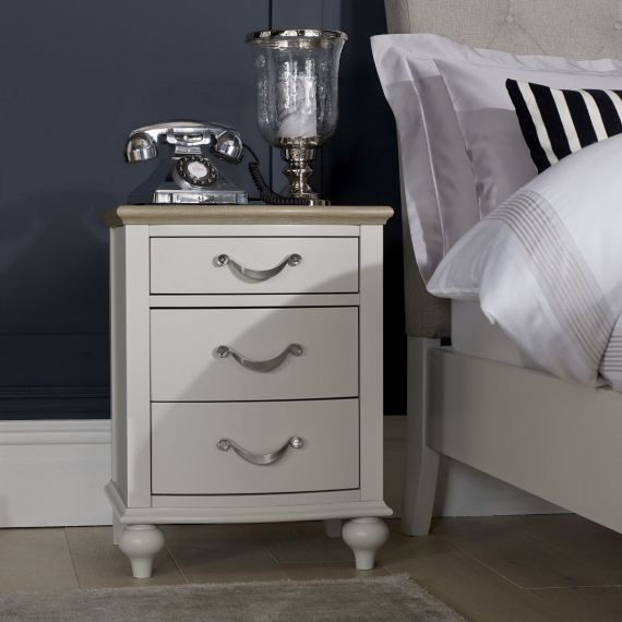 Montreux Grey Washed Oak & Soft Grey Painted 3 Drawer Bedside Chest - Montreux Furniture