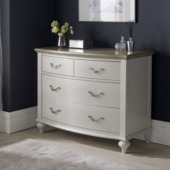 Montreux Grey Washed Oak & Soft Grey Painted 4 Drawer Chest - Montreux Furniture