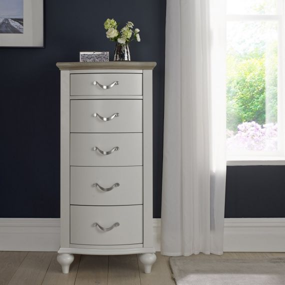 Montreux Grey Washed Oak & Soft Grey Painted 5 Drawer Tallboy - Montreux Furniture