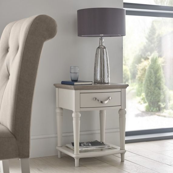 Montreux Grey Washed Oak & Soft Grey Painted Lamp Table with Drawer - Montreux Furniture