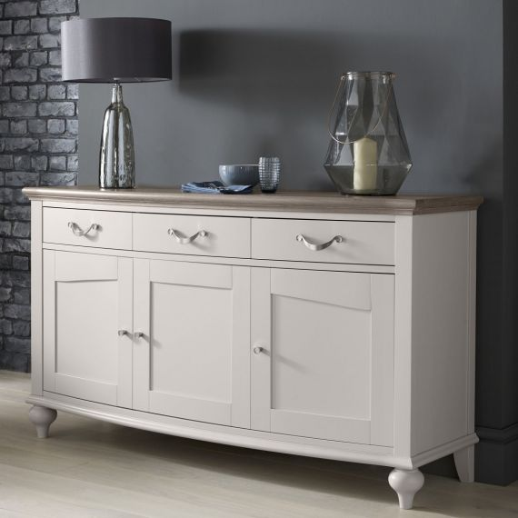Montreux Grey Washed Oak & Soft Grey Painted Large Sideboard - Montreux Furniture
