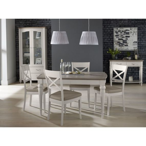 Montreux Grey Washed Oak & Soft Grey Painted Small Extending Dining Table - Montreux Furniture