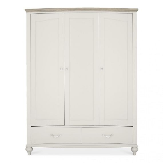 Montreux Grey Washed Oak & Soft Grey Painted Triple Wardrobe - Montreux Furniture