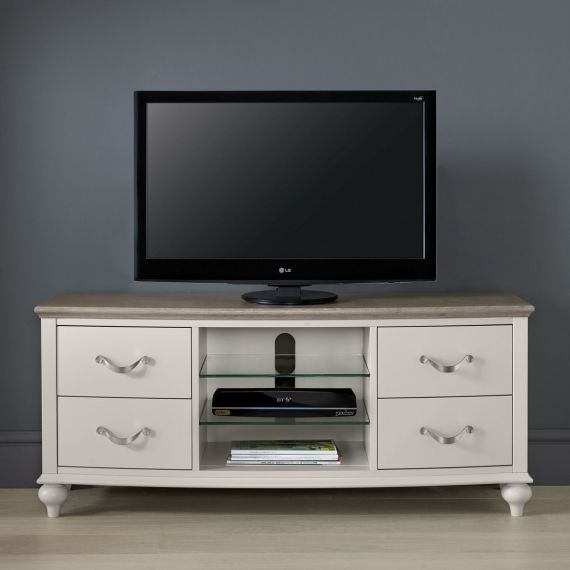 Montreux Grey Washed Oak & Soft Grey Painted TV Unit - Montreux Furniture
