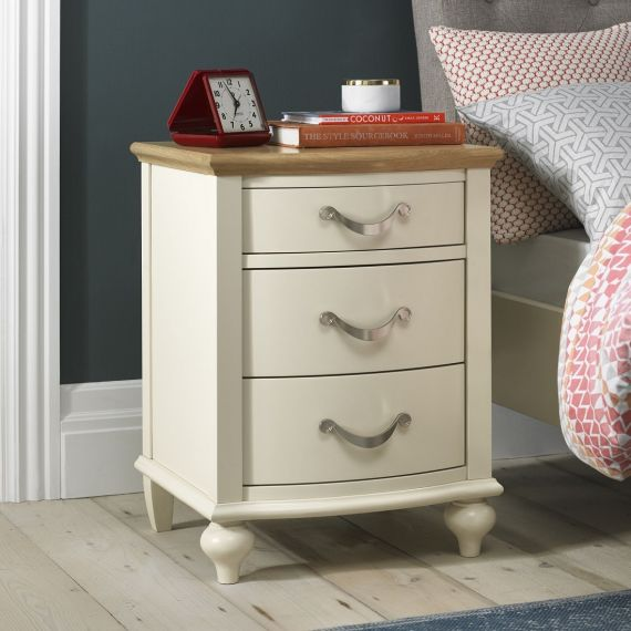 Montreux Oak & Antique White Painted 3 Drawer Bedside Chest - Montreux Furniture