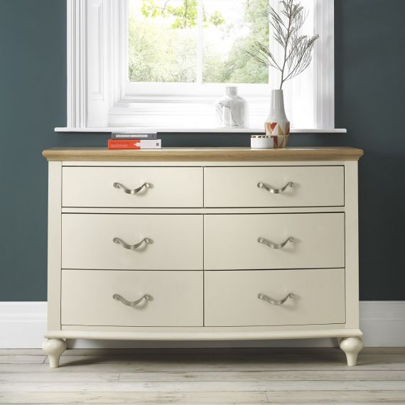 Montreux Oak & Antique White Painted 6 Drawer Wide Chest - Montreux Furniture